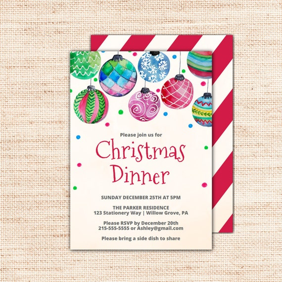 graphic relating to Printable Holiday Invitation known as Ornament Xmas Meal Invites Template: Printable