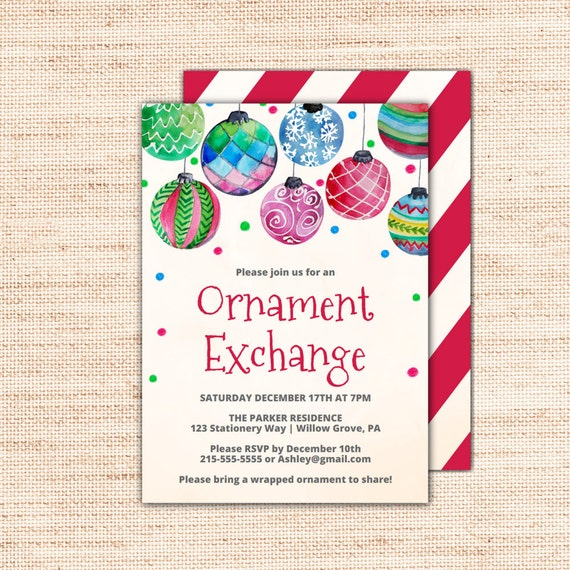 holiday baubles ornament exchange invitation template a colorful