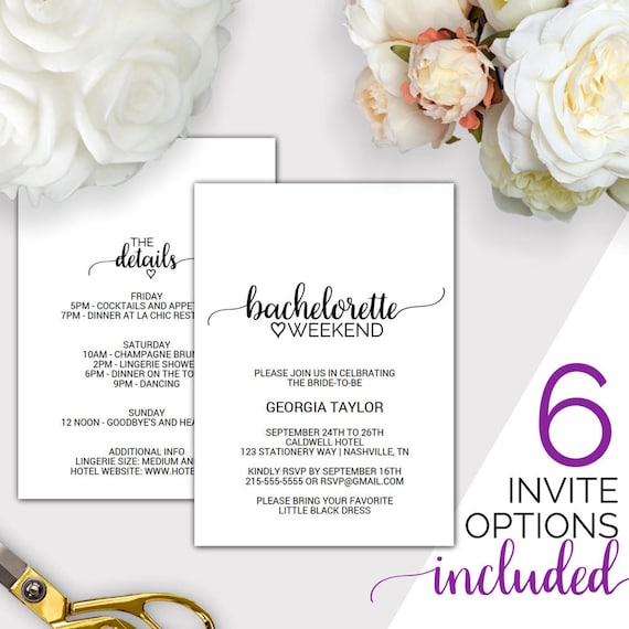 photo regarding Free Printable Bachelorette Party Invitations titled Bachelorette Weekend Invitation w/ Itinerary Template