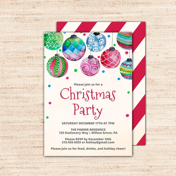holiday baubles printable christmas party invitation