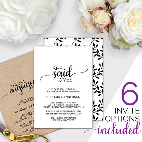 Rustic Engagement Party Invitation Printable Template She Said Yes