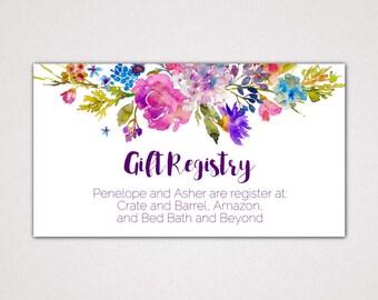 Garden Wedding Registry Cards Printable Template: A Purple Wedding Gift Insert or Enclosure Card, Digital Instant Download Editable PDF K003