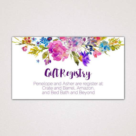 Garden Wedding Registry Cards Printable Template A Purple