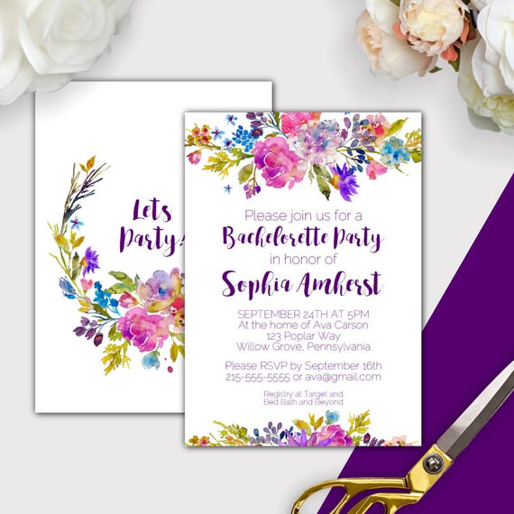 garden bachelorette party invitation template printable etsy