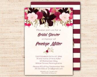 Boho Bridal Shower Invitation Instant Download, Bohemian Printable Bridal Shower Invite Template, Purple Wedding Shower Invites K002