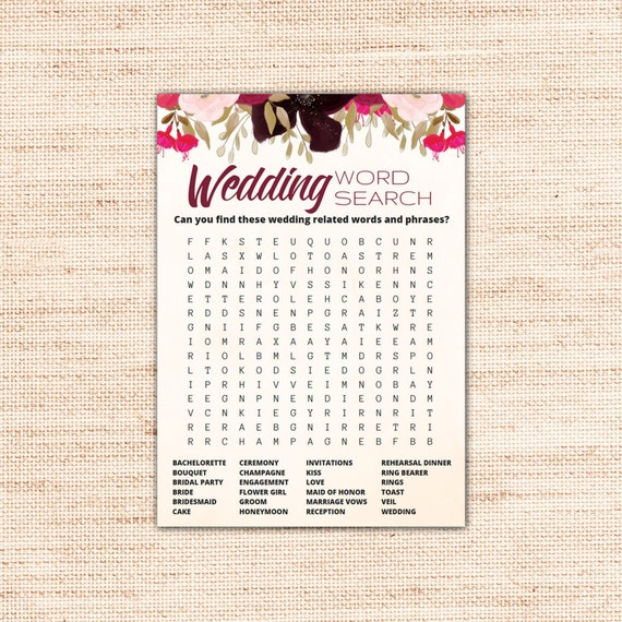 Boho wedding word search game cards printable instant etsy image 0 m4hsunfo