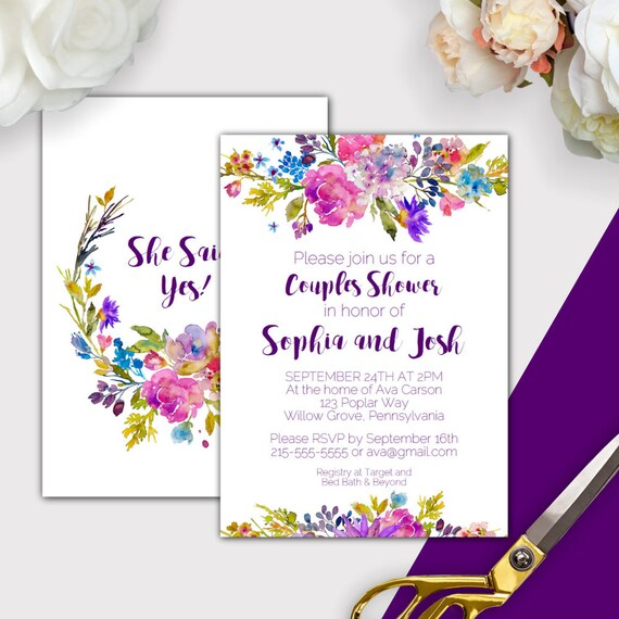 Garden Couples Bridal Shower Invitation Template Purple | Etsy