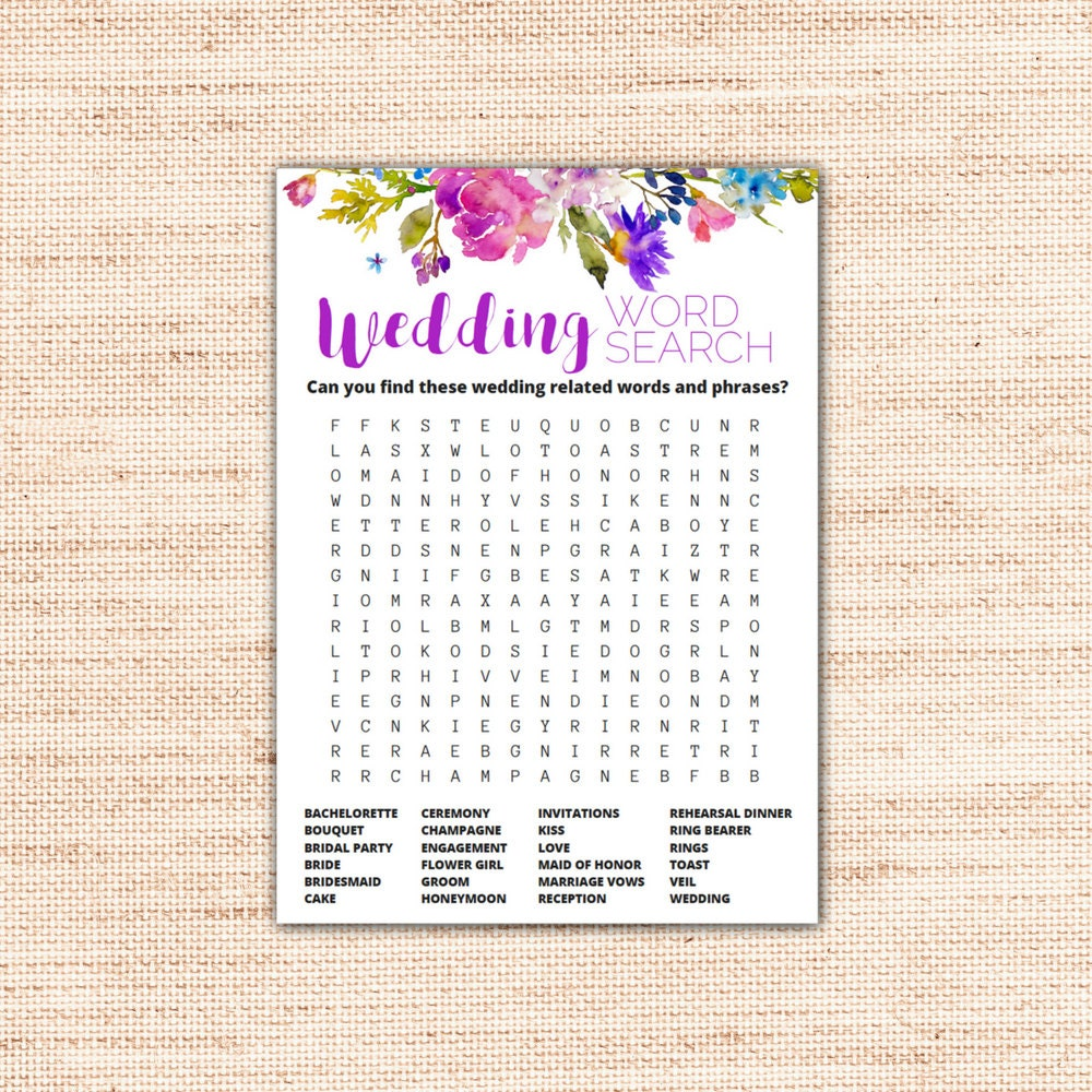 garden wedding word search game cards printable instant etsy