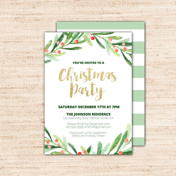 Christmas Party Invitation Template.Holly Wreath Printable Christmas Party Invitation Template Holiday Invites With Gold Glitter Text Diy Instant Download Editable Pdf X002