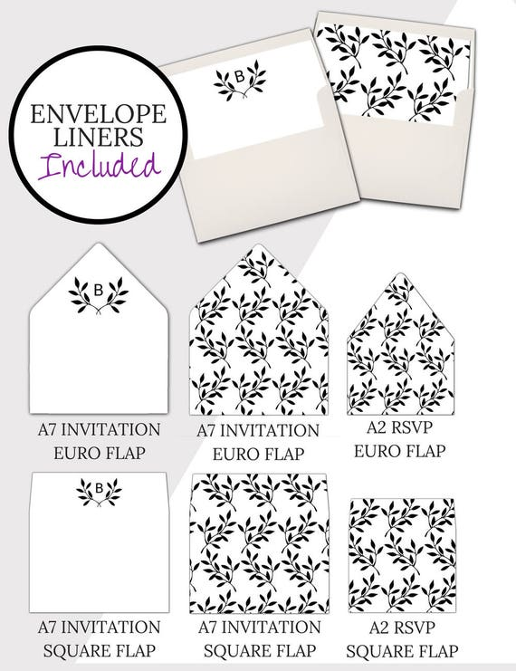 Wedding Envelope Template Rustic Calligraphy A7 Printable