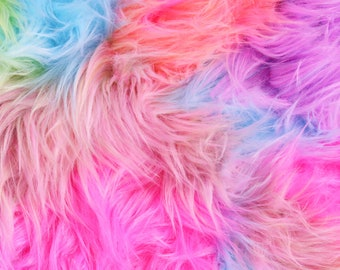 FS688 Rainbow Tie Dye Fur Fabric Craft Quilting Dress Making Stagewear