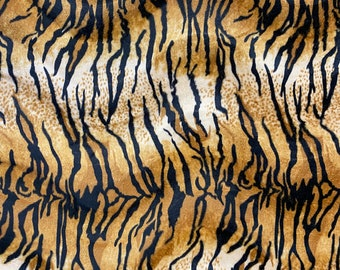 VELBOA FAUX FUR BROWN TIGER ANIMAL PRINT FABRIC SEWING POLY BY THE YARD