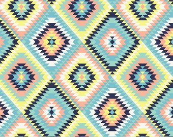 Aztec Quilt  Fleece Fabric by David Textiles by the yard