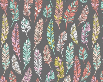 Whimsy Feathers - Fleece Fabric by David Textiles by the yard
