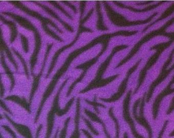 Purple and Black Zebra Animal Print Fleece Fabric by the yard