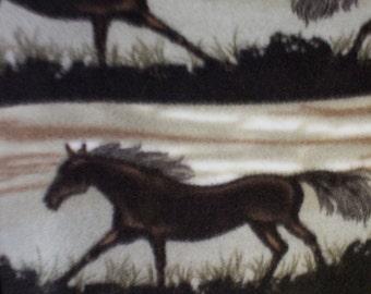 Running Horse Print Fleece Fabric by the yard