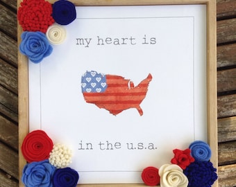 """My Heart Is In The USA Wood Sign   11 1/2""""x11 1/2""""x1"""""""