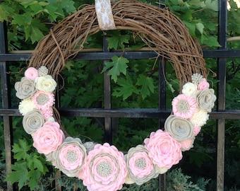 "Soft Pink, Sand, and Cream Felt Flower Wreath on an 18"" Grapevine Wreath"