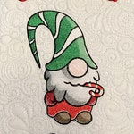 Gnome for the Holidays  Machine Embroidered, Free Motion Quilted Christmas Wall Hanging
