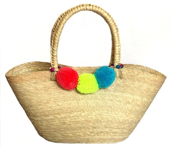 obtener nueva oferta especial chic clásico Handbag Acapulco, Beach Bag, Mexican Bag, bolsa artesanal mexicana, Basket,  Pompoms DIY