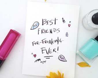BEST FRIENDS Valentines Day Card Birthday Cards for Her Funny Greeting Cards Handmade Cards Funny Card Paper Handmade Greeting Cards Blank