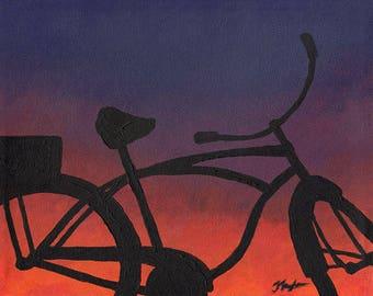Original Beach Art Sunset, Beach Cruiser Bike, Painting of Vintage Bicycle, Bicycle Wall Art, Original Painting, Vintage Bicycle Gift
