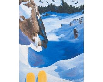 "Ski Art Print ~ Jackson Hole Art Print ~ ""Contemplating the Couloir"" ~ Wyoming Ski Art ~ Ski Painting Reproduction"