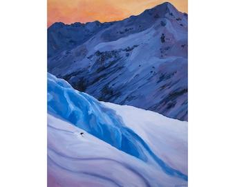 "Ski Art Print ~ Alaska Skiing Print ~ ""Alaska Lines"" ~ Valdez Alaska Print ~ Alaska Ski Art ~ Ski Painting Reproduction"