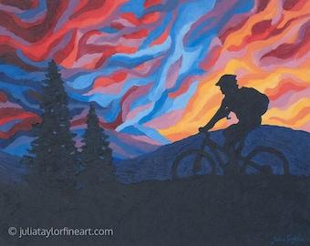"""Mountain Bike Art Print ~ Gift for Mountain Biker ~ """"Rainbow Ride"""" ~ Mountain Biking Poster ~ Bike Art ~ Biking Painting Reproduction"""