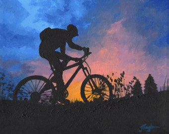 "Mountain Bike Art ~ Bike Art Print ~ ""Sunset Bike Ride"" ~ Mountain Biking Poster ~ Bike Art ~ Biking Painting Reproduction"
