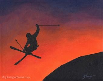 Skier Art, Freestyle Skiing, Ski Park Art, Original Painting, Abstract Ski Art, Colorado Artist, Gift for Skier, Ski Gifts, Skiing Painting