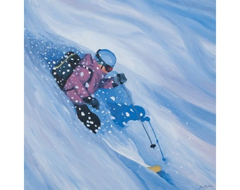 "Ski Art Print ~ Skiing Print ~ ""Plentiful Powder"" ~ Colorado Ski Print ~ Ski Poster ~ Ski Painting Reproduction"