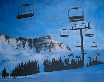 "Ski Art Print ~ Arapahoe Basin Art Print ~ ""Basin Beauty"" ~ A-Basin Print ~ Chair Lift Print ~ Colorado Ski Art ~ Ski Painting Reproduction"