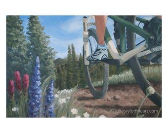 Mountain Bike, Gift for Mountain Biker, Mountain Biking Art, Mountain Bike Wall Art, Original Painting, Colorado Art, Large Mountain Bike