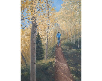 "Mountain Bike Art Print ~ Colorado Biking Art Print ~ ""Tunnel of Trees"" ~ Fall Aspens in Colorado ~ Biking Painting Reproduction"