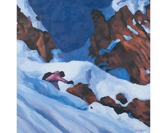 "Ski Art Print ~ Skiing Print ~ ""Chugach Dream"" ~ Alaska Ski Print ~ Ski Poster ~ Ski Painting Reproduction"