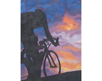 "Road Bike Art Print ~ Sunset Biking Art Print ~ ""Dusk Rhythm"" ~ Bike Print ~ Cycling Art Print ~ Biking Painting Reproduction"