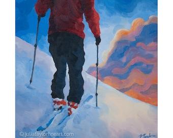 "Ski Art Print ~ Skiing Print ~ ""Early Mountain Reward"" ~ Backcountry Ski Print ~ Ski Poster ~ Ski Painting Reproduction"