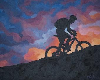 "Mountain Bike Art Print ~ Cycling Art Print ~ ""Velo Vibrancy"" ~ Mountain Biking Poster ~ Bike Art ~ Biking Painting Reproduction"