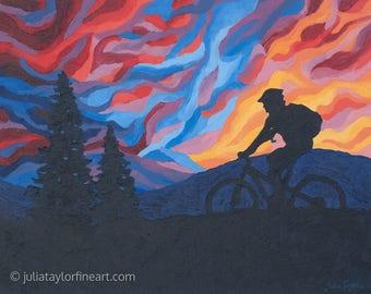 Original Cycling Painting, Mountain Bike Art Original, Mountain Bike Gift, Abstract Bicycle Art, Gift for Cyclist, Colorado Bike Art