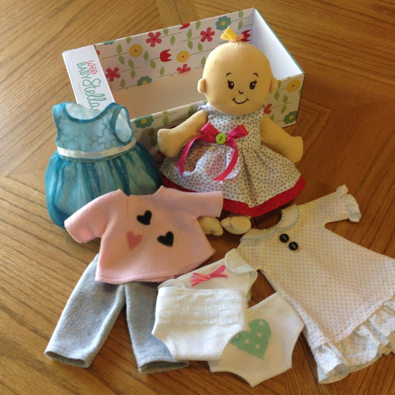Baby Stella doll clothes//15 inch//handmade daisies print dress//socks//2 hair bows