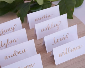 Handwritten Tented Place Cards-Custom Calligraphy-Wedding Decor