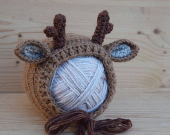 Crochet Reindeer hat, Rudolph hat, Girls hat, Boys hat, Christmas hat, Animal hat, Character hat