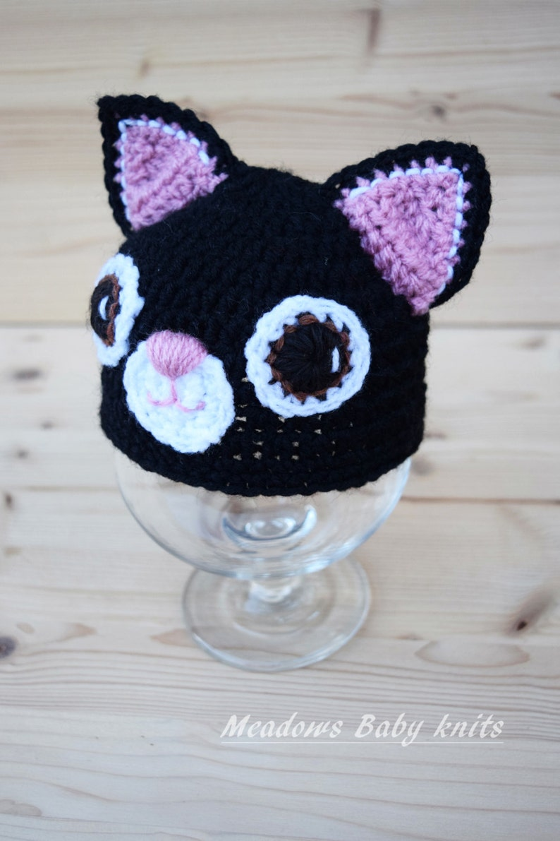 Crochet Baby Hat Cat Hat Newborn Photo Prop Newbornbaby Etsy