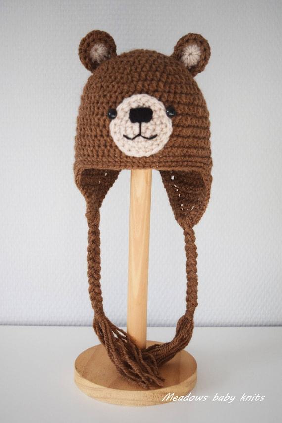 Crochet baby hat Teddy Bear hat Newborn photo prop newborn  43e06af2b1f
