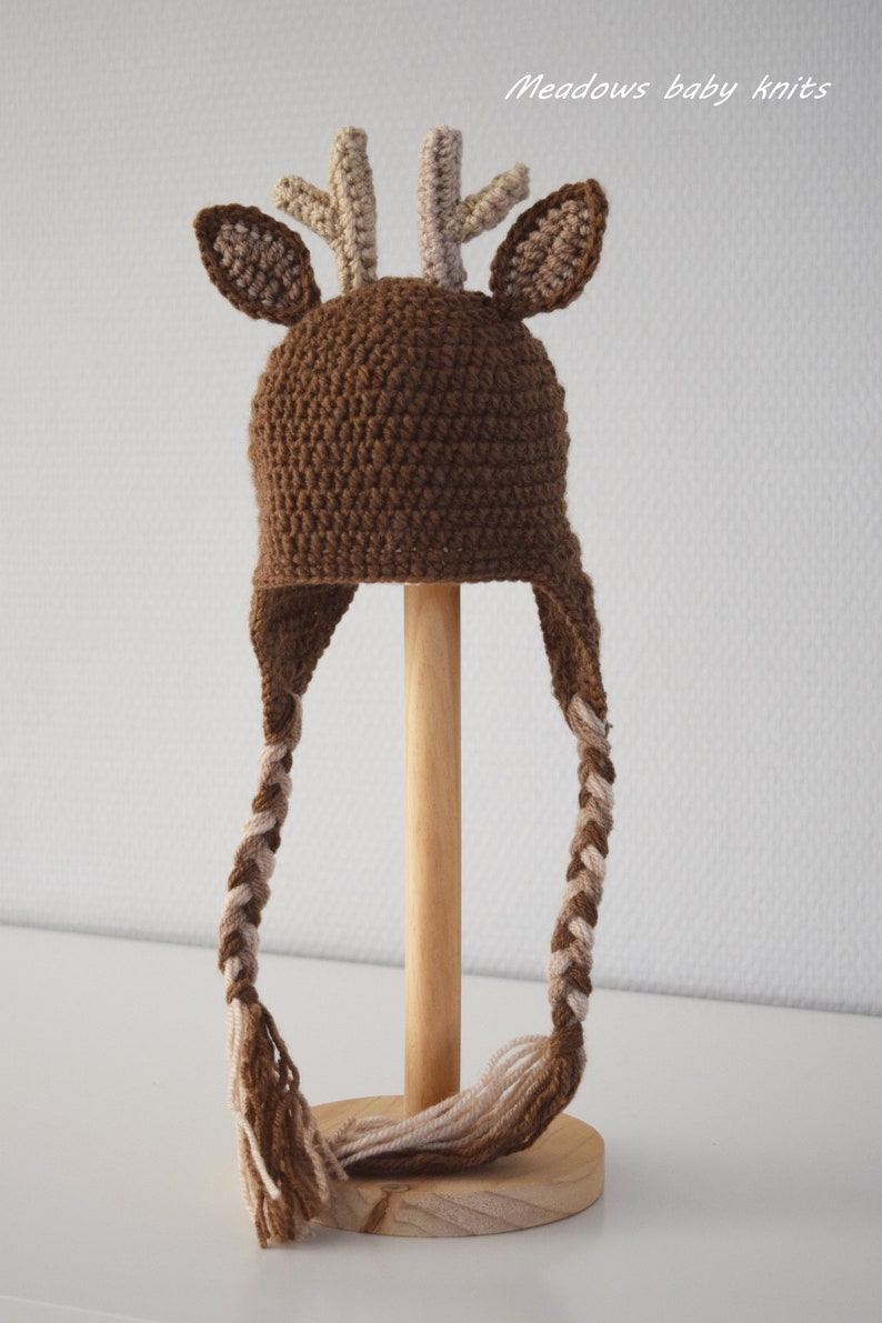 87b718077 Crochet Reindeer hat, Rudolph hat, Girls hat, Boys hat, Christmas hat,  Animal hat, Character hat, Ready to ship