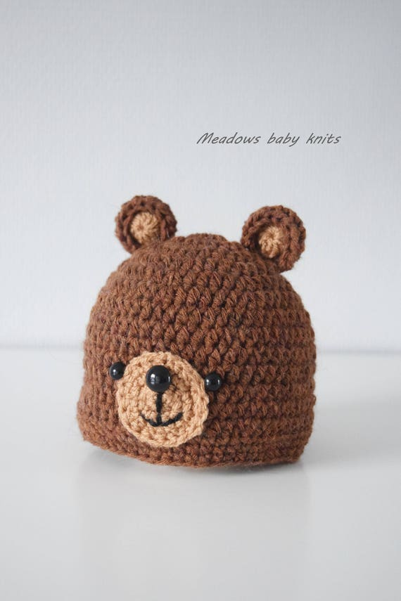 Crochet baby hat Teddy Bear hat Newborn photo prop  fc538037557