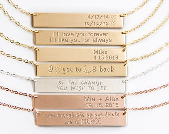 Personalized Bar Necklace, Engraved Bar Necklace, Initial Necklace in Silver, Gold Fill, Rose Gold Fill, Custom Name Plate, Quotes ZN00071