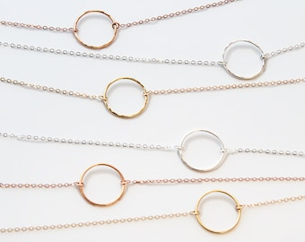 Circle Necklace, Dainty Gold circle Necklace ZN00251