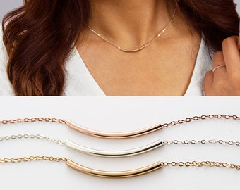 b1bb9309f13 Curved Bar Necklace, Dainty Gold Bar Necklace, Long Gold Bar, Simple Bar  Necklace, Simple Gold Necklace, Simple Silver Necklace ZN00290
